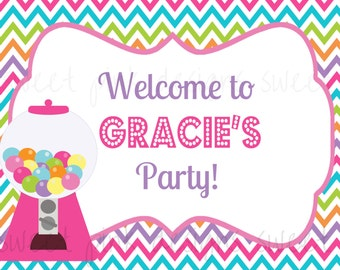 Printable Welcome Sign- Gumball Party Collection