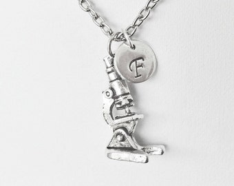 Microscope Initial Necklace Personalized 3D Charm Microbiology Biology Research Technitian Medical Medic Gift Medicine Doctor Scientist
