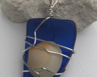 Cobalt Blue Seaglass with a Tiny Shell Pendant