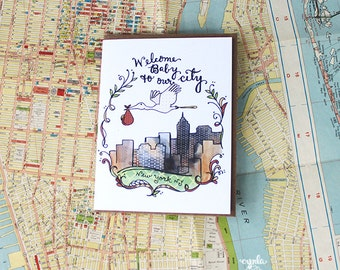 New York City Baby Card - new baby card, baby shower, hand drawn illustration, cynla card
