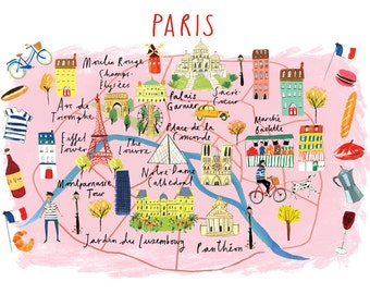 A4 Map of Paris