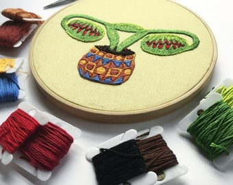 Digital embroidery pattern, Big swinging Ovaries -VENUSFLYTRAP- , design by Jess de Wahls #BSODIY