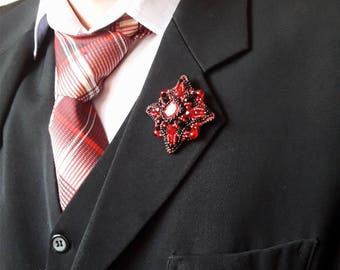 "Brooch-order ""Red and Black"""