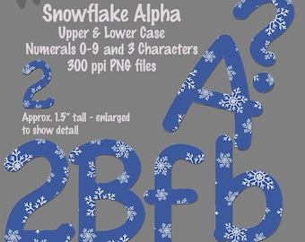 Digital Snowflake Alpha upper and lower case, 0-9, 3 characters-printable, clip art, alphabet, 2 inch tall-INSTANT DOWNLOAD