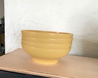 Vintage Tupperware - Set of 4 Salad/Cereal Bowls - Harvest Gold