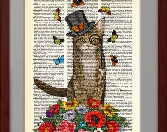 Cat top hat art, Weekend print, flowers poster, Dictionary page, Dorm Home Wall decor, gift, CODE/206