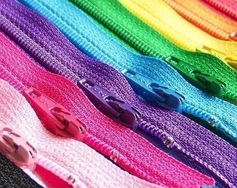 22 Inch Ykk Zipper Rainbow Sampler Pack 10 pcs red orange yellow green blue purple pink black white