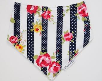 Dribble bib // baby girl // floral // bib // baby bib // baby gift // baby shower // bandana bib // teething // flowers // stripes