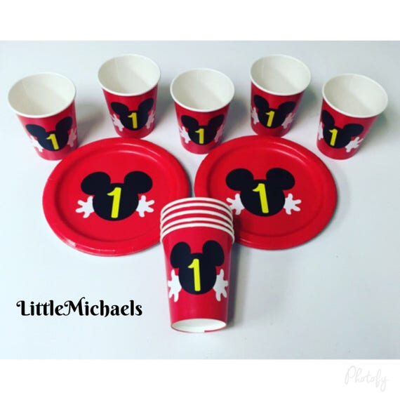 Mickey Mouse Birthday Party Cups and Plates Mickey Mouse Baby Shower Cups and Plates Mickey Mouse Clubhouse Tableware from LittleMichaels on Etsy Studio  sc 1 st  Etsy Studio & Mickey Mouse Birthday Party Cups and Plates Mickey Mouse Baby ...