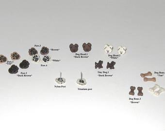Hypoallergenic Kids Earrings / Nickel Free/ Titanium/Nylon Post / Little Dog Stud Earrings / Tiny Brown Dog, Dog Head,Dog Paw,Dog Bone