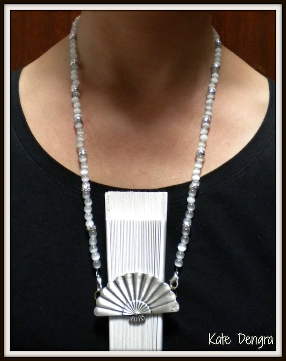 Hand Fan Holder Necklace Chain CHOOSE OPTIONS Strap and Holder White/Gray Cats Eye Beads