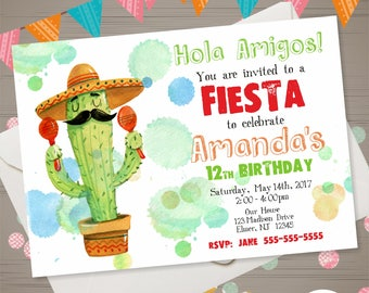 Birthday party invitation in spanish invitation to print fiesta invitation fiesta birthday invitation watercolor cactus invitation mexican birthday party mexican invitation spanish invite stopboris