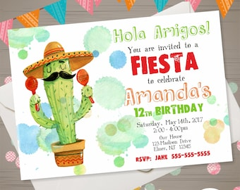 Birthday party invitation in spanish invitation to print fiesta invitation fiesta birthday invitation watercolor cactus invitation mexican birthday party mexican invitation spanish invite stopboris Images