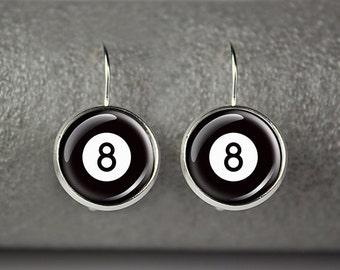 8 Ball earrings, Billiard earrings, Pool ball earrings, Eight ball earrings