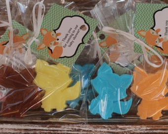 Fox Soap Party Favors:  Birthday favors, Fox Favors, Woodland Creatures, Baby Shower Favors, Baby Sprinkle, Wedding Favors