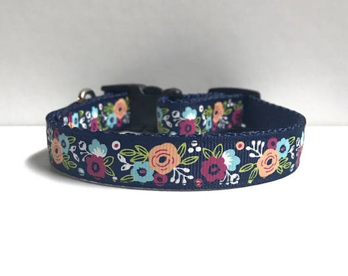 """5/8"""" Floral on Navy collar"""