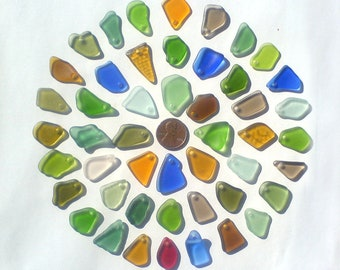 48 top drilled sea beach glass for jewelry 18-24 mm in length, multicolor