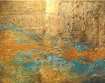 CELESTIAL EMPIRE Original abstract  art  painting metallic gold texture surreal modern contemporary  fine art by CAROL LEE