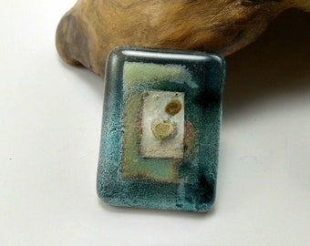 Vintage Fused Glass Artisan Brooch