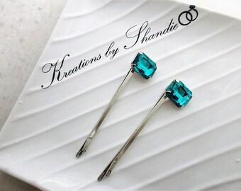 Turquoise Hair Pins, Crystal hair pins, Bridal hair pins, Silver Bridal hair pins, Wedding hair pins, Bridal hair clip, Bobby Pins