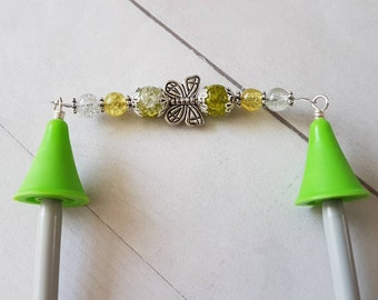 Butterfly Point Protectors -for Knitting Needles -Knitter Accessory -Knit Notion -Beaded Point Protectors for Knitters -Green -Silver