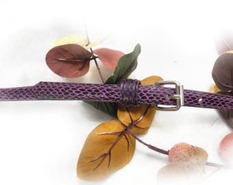 thin belt - skinny belt - purple skin belt -  Vegan  belt -- stylish belt -   waist 28 to 32 inches  # B 52