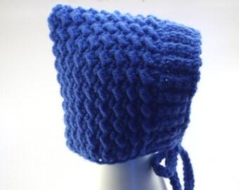 Baby Pixie Bonnet   Hat   Blue   Newborn   Baby Gift   Crochet