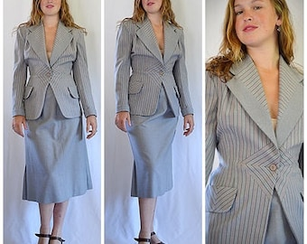 Vintage 1940s WWII Gray and Pink Striped Wool Pinch Waist Jacket and Flared Skirt Suit Sz S