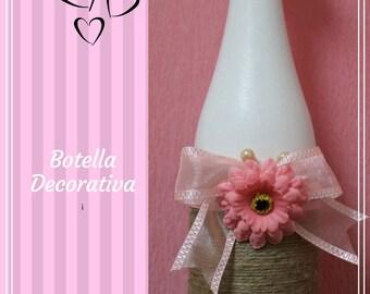 Decorative Pink Flower Bottle