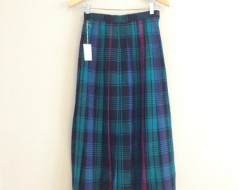 "FREE US SHIPPING | Vintage 80s Teal, Pink, Blue + Black Plaid Pleated Knee Length 100% Wool High Waisted Skirt | 27"" Waist"