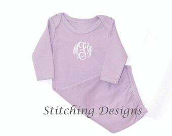 Monogrammed Baby Gown, Monogram Infant gown, Layette - Elastic Bottom,  9 colors, sizes 0-3 and 3-6mos