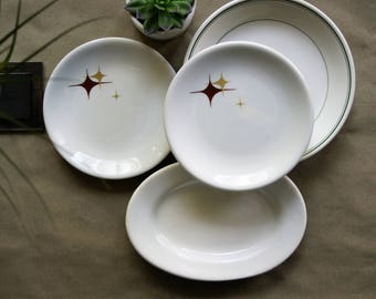 Vintage Restaurant Ware Plates and Bowl Shenango Atomic Jubilee Bread Size Set of 2, Greenwood Platter and McNicol Green Banded Fruit Server