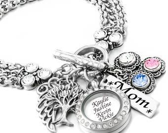 Kids Names Bracelet, Grandma Bracelet, Personalized Mom Bracelet, Birthstone Bracelet