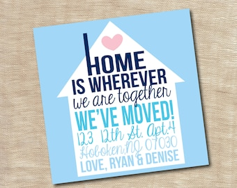 Housewarming Party Invitation New Home We Moved Announcement Card Printable Custom Personalized