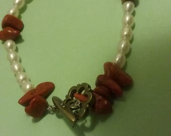 Pearl and stone pearl and shell sweetheart bracelets