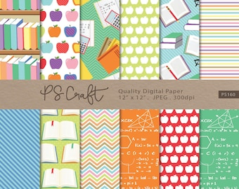 Teachers Digital Papers, SEAMLESS Back to School Background, Book Reading Digital Paper