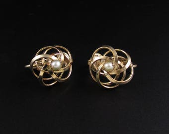 Pearl Knot Earrings, Pearl Earrings, Gold Filled Earrings, Genuine Pearl Earrings, Knot Earrings
