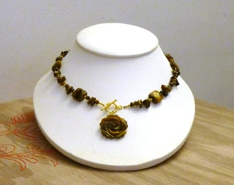 Tigers Eye Gemstone Rose Choker Necklace- One of a kind- OOAK Hand Made