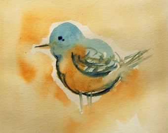 Original Bird Watercolor Painting, Small Watercolor, Blue and Orange Bird, Animal Art, Gift Idea