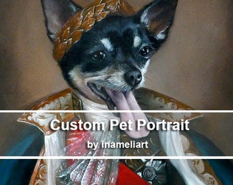 OIL canvas custom pet portrait, original painting whimsical dog cat animal pet lover painting handmade wall art gift by inameliart