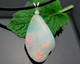 Opal Pendant, Diamond Accent - Welo Ethiopian Opal Freeform Pendant in 14k White Gold
