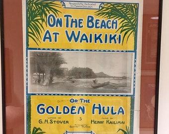 On the Beach at Waikiki Vintage Sheet Music Framed