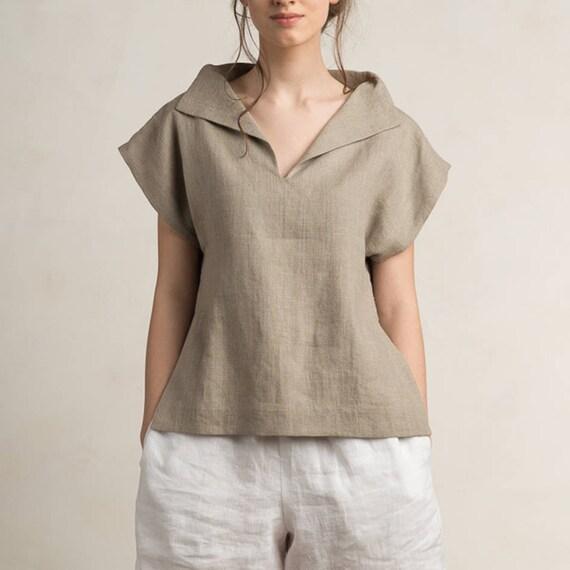 Linen Blouse Women Linen Women S Clothing Short Sleeve