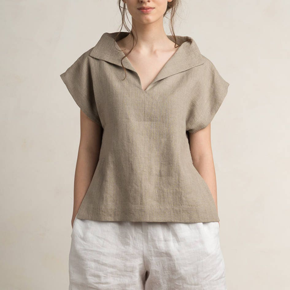 17 Best Images About Women S Fashion That I Love On: Linen Blouse Women Linen Women's Clothing Short Sleeve