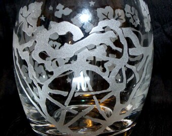 Glass Votive Candle Holder with Pentacle and Vines Design
