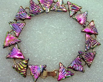 Dichroic Glass Link Bracelet, Fused Glass Bracelet in Cha-Cha Pink Champagne, Rose Gold Triangles