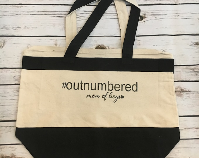 Outnumbered Tote Mom Of Boys Boy Mom Mom Life The Best Life Gift For Mom From Kids Mama Mothers Day Christmas Birthday Blessed Forever