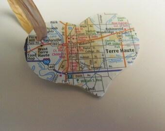 Indiana, Terre Haute Heart Ornament -- Atlas, Upcycled (Ref. No. 7)