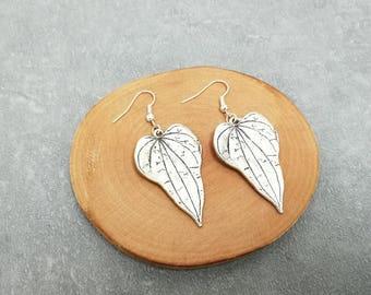 Earrings large dangle leaf brass silver tone, women gift jewelry