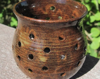 Candle Luminary in Earthtones - Handmade and Carved Pottery